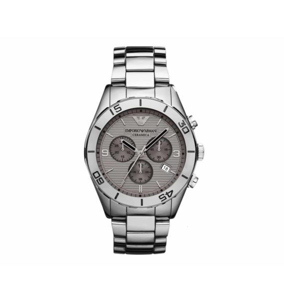 Ar 1462 Emporio Armani Chronograph Silver Ceramic Bracelet