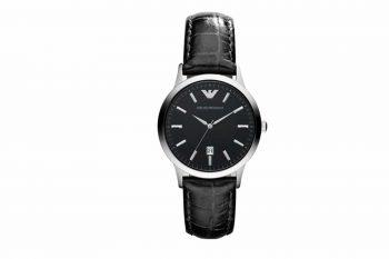 AR 2412 Emporio Armani Black Leather Strap