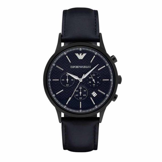 AR 2481 Emporio Armani Blue Herringbone Pattern Dial Chronograph Leather Men's Watch