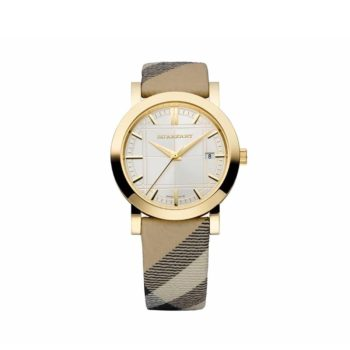 Bu1398 Burberry Lady Gold Case Silver Dial Coffee Leather