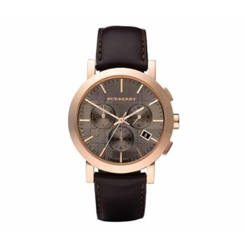 Bu1863 Burberry Chronograph Brown Leather Strap 1