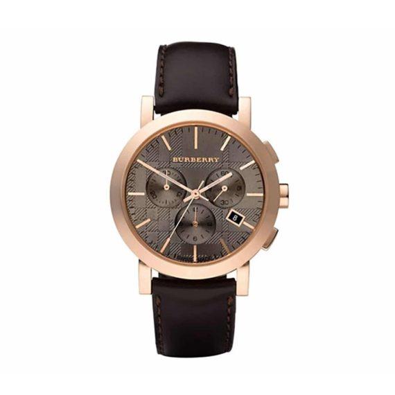 Bu1863 Burberry Chronograph Brown Leather Strap 1