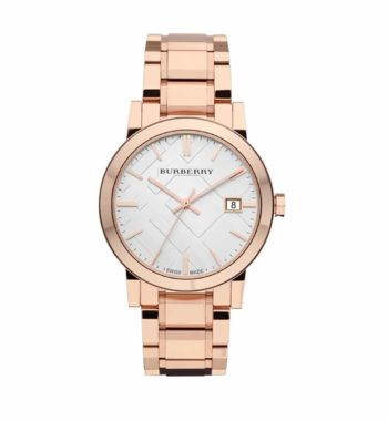 BU9004 Burberry White Check Pattern Dial Rose Gold Plated Unisex Watch