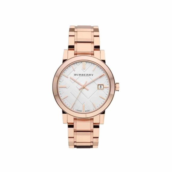 Bu9004 Burberry White Check Pattern Dial Rose Gold Plated Unisex Watch E1554320960345