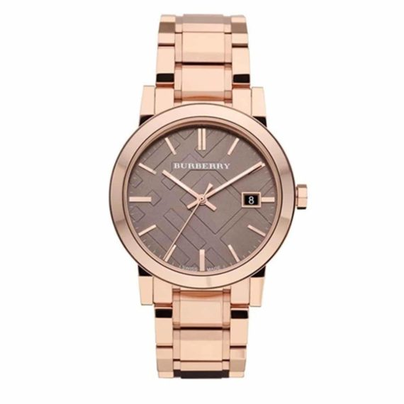 BU9005 Burberry Brown Check Pattern Dial Rose Gold Plated Unisex Watch