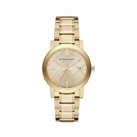 Bu9033 Burberry The City Champagne Dial Gold Tone Unisex Watch E1554320913628