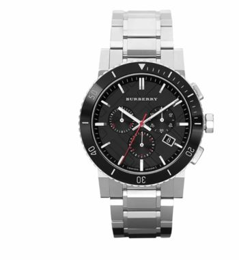 BU9380 Burberry Black Dial Chronograph Stainless Steel Men's Watch