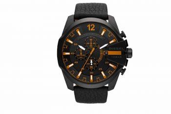 DZ4291 Diesel Gunmetal Analog Black Leather Strap Chronograph Gents Watch