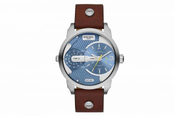 DZ7321 Diesel Mini Daddy Dual Time Dial Brown Leather Men's Watch