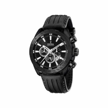 F16901 1 Festina Black Leather Strap Chronograph