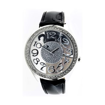 Guess Black Leather Strap Swarovski