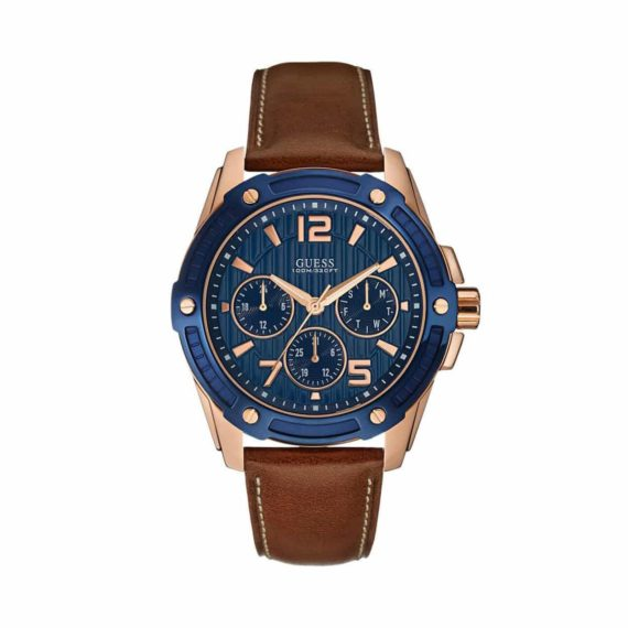 W0600g3 Guess Multi Function Rose Gold Stainless Steel Leather Strap
