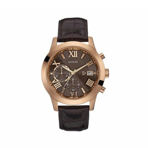 W0669g1 Guess Rose Gold Brown Leather Chronograph