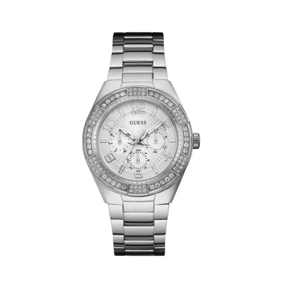 W0729l1 Guess Crystals Multi Function Silver Stainless Steel Bracelet