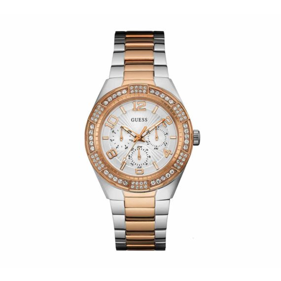 W0729l4 Guess Crystals Multi Function Two Tone Stainless Steel Bracelet