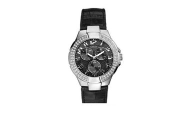 W11008L2 Guess Multi Function Black Leather