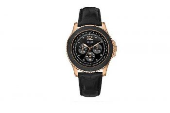 W11126G1 Guess Men's Black Leather Quartz Watch With Black Dial