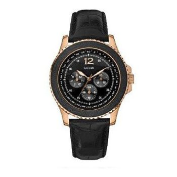 W11126G1 Guess Men's Black Leather Quartz Watch With Black Dial