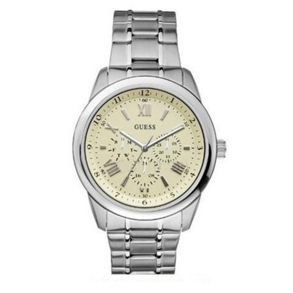 W13567G2 Guess Men's Round Stainless Steel Case And Bracelet Cream Dial Watch