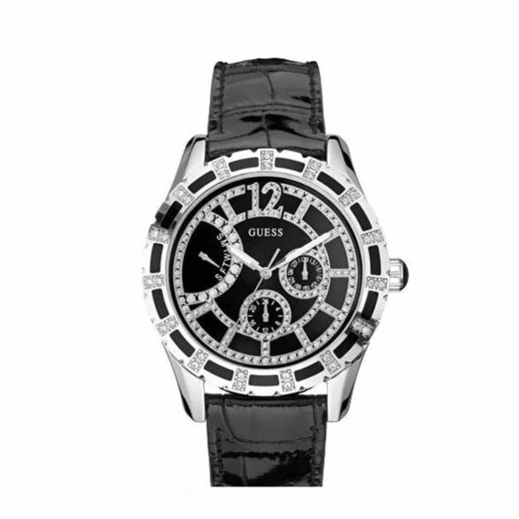 W15054l2 Guess Ladies Silver And Black Strap