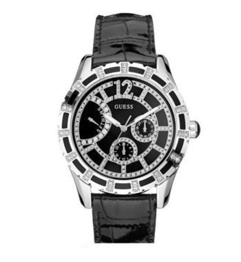 W15054L2 Guess Ladies' Silver And Black Strap