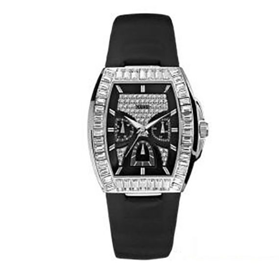 W18532L1 Guess Ladies' Iceberg Stoneset Black Dial And Leather Strap Watch