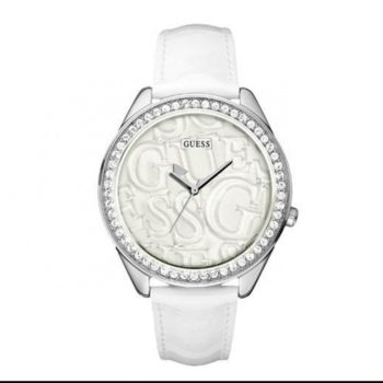 W85098L1 Guess White Strap Logo Watch