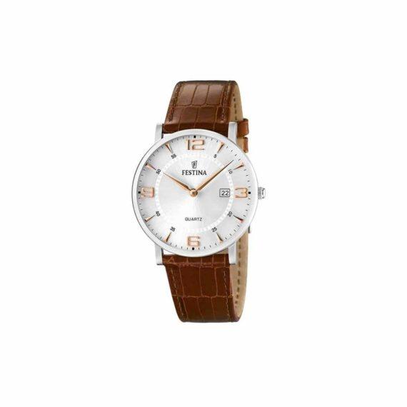 Festina Men's Classic Brown Leather Strap Watch F16476 4