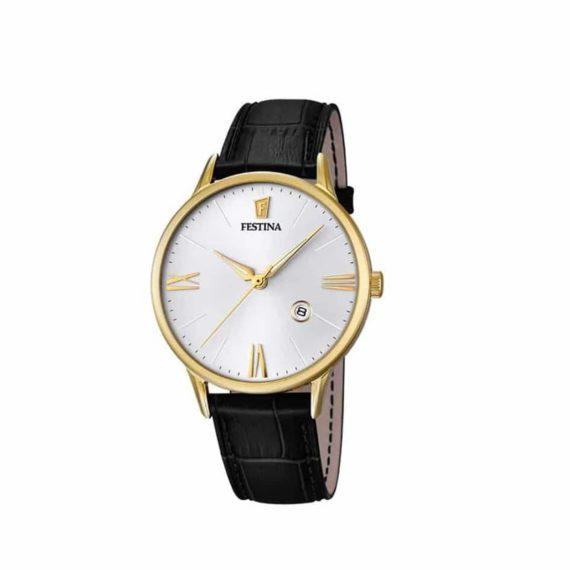 Festina Mens Gold Black Leather Strap Watch F16825 1 E1554312601609