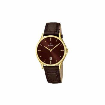 Festina Men's Gold Brown Leather Strap Men's Watch – F16747/3
