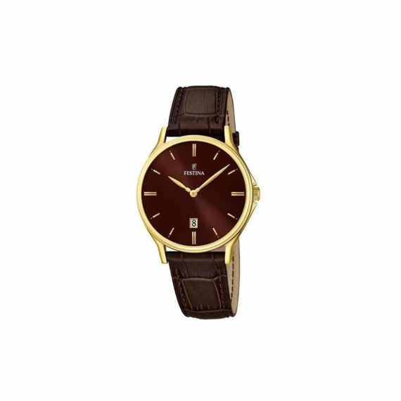 Festina Men's Gold Brown Leather Strap Watch F16747 3