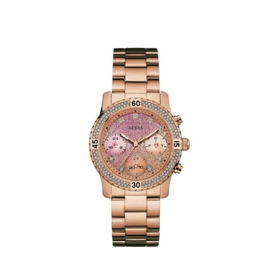 Guess Crystals Multifunction Rose Gold Stainless Steel Bracelet W0774l3