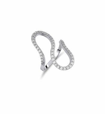 Δαχτυλίδι Μοντέρνο Λευκόχρυσο Με Ζιργκόν 002461