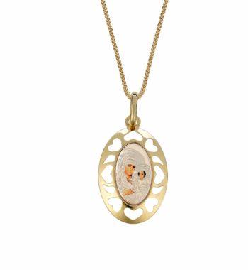 Φυλαχτό Κορνίζα Παναγία Καρδιά Κίτρινος, Λευκός Και Ροζ Χρυσός 002473