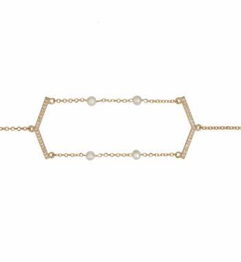 Μενταγιόν Χρυσό Με Μαργαριτάρια Και Ζιργκόν 002495