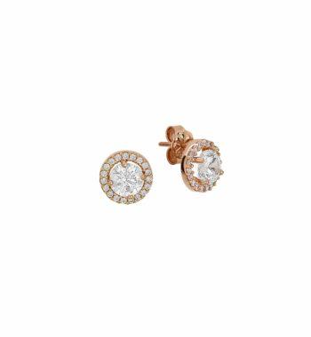 Σκουλαρίκι Δίσκος Ροζ Χρυσό Με Ζιργκόν 002460