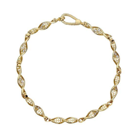 Βραχιόλι DNA Διάτρητο Χρυσό Με Ζιργκόν 002462