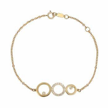 Βραχιόλι Κύκλοι Χρυσό Με Ζιργκόν 002507