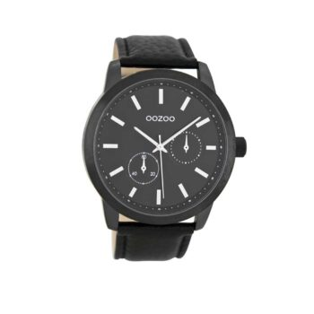 OOZOO Timepieces Black Leather Strap Men's Watch – C8579