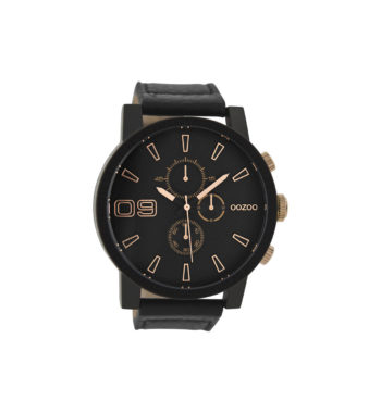 OOZOO Timepieces Black Leather Strap Large Men's Watch C9034