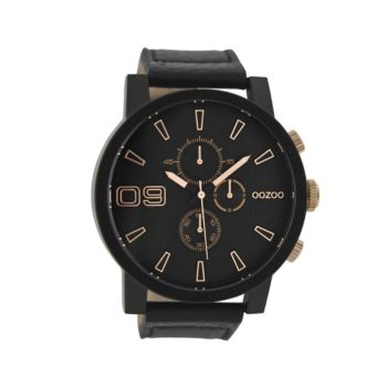 Oozoo Timepieces Black Leather Strap Large Mens Watch C9034 E1554317067255