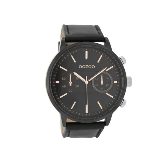 OOZOO Timepieces Black Leather Strap Men's Watch C9059