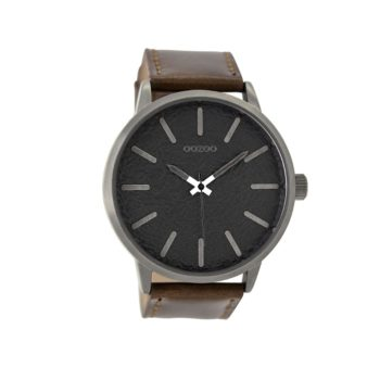 OOZOO Timepieces Brown Leather Strap Men's Watch – C9027