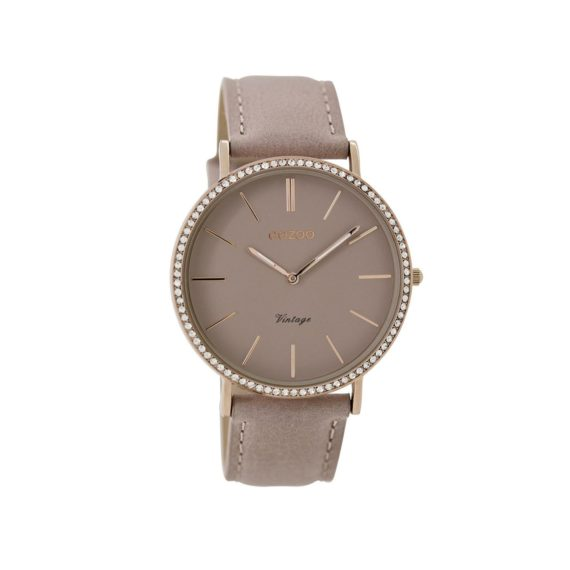 OOZOO Timepieces Vintage Crystals Rose Gold Pink Leather Strap Women's Watch C8886
