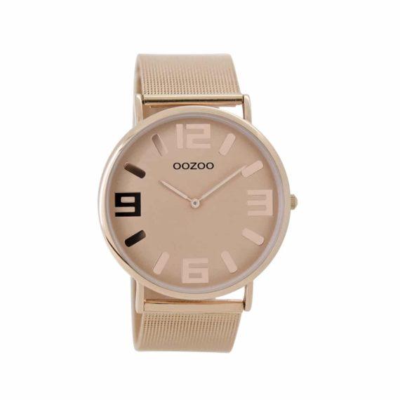 Oozoo Timepieces Vintage Rose Gold Ultra Slim Metal Strap C8883