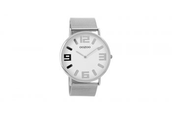 OOZOO Timepieces Vintage Silver And Black Unisex Watch C8880