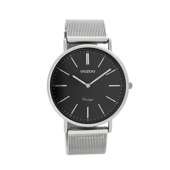 OOZOO Timepieces Vintage Silver Black And Silver Unisex Watch C8815