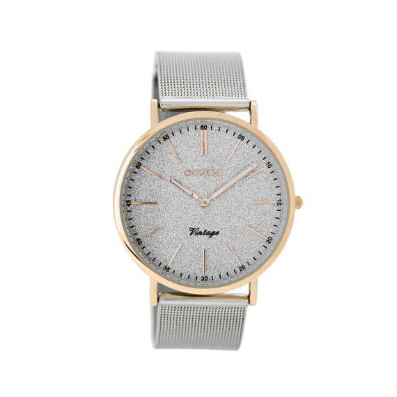 OOZOO Timepieces Vintage Timepieces Grey Mesh Metallic Bracelet Women's Watch C8800