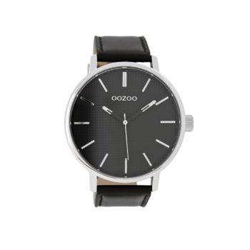 OOZOO Timepieces XXL Black Leather Strap Men's Watch – C9004