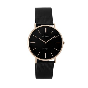 OOZOO Vintage Black Metallic Mesh Bracelet Women's Watch C8871